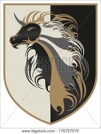 Beautiful Arabian Golden Stallion Horse Crest Icon Logo