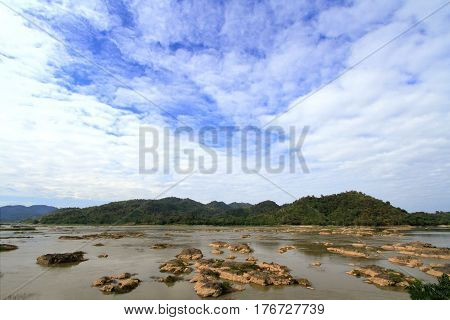 Water eroded rocks and islets in mekong river at sangkhom district Nong Khai province Thailand.