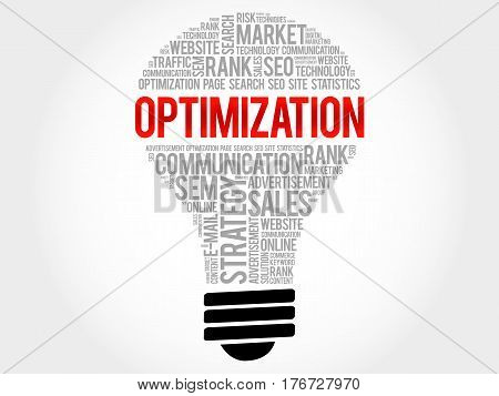Optimization Bulb Word Cloud Collage