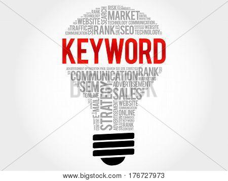 Keyword Bulb Word Cloud Collage
