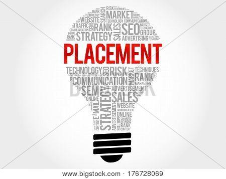 PLACEMENT bulb word cloud , business concept
