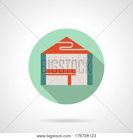 Abstract tasting tent with table. Commercial structures, mobile and local marquees, pavilions, canopy. Round flat design vector icon.