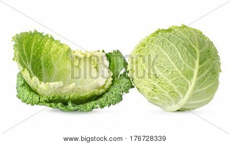 Cabbage leaves and cabbage isolated on white background