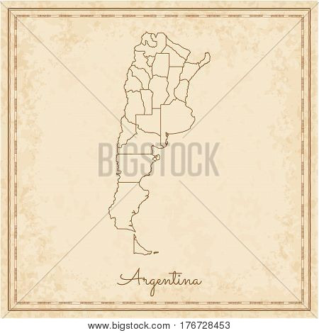 Argentina Region Map: Stilyzed Old Pirate Parchment Imitation. Detailed Map Of Argentina Regions. Ve