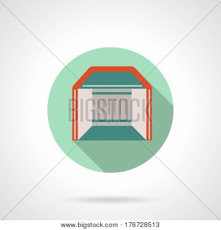 Abstract trade exhibition or show booth. Commercial structures, mobile and local marquees, pavilions, canopy. Round flat design vector icon.
