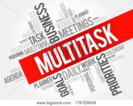 MULTITASK word cloud collage, business concept background
