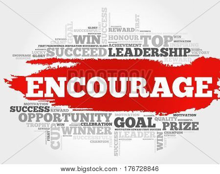 Encourage word cloud collage, business concept background
