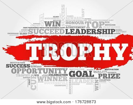 Trophy word cloud collage , business concept