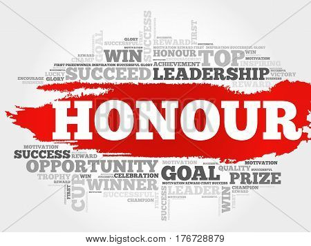 Honour word cloud collage , concept background