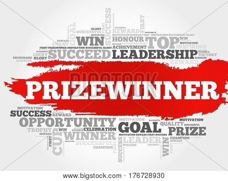 Prizewinner  word cloud collage, business concept background