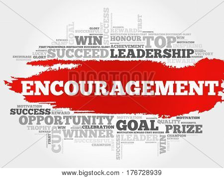 Encouragement word cloud collage , business concept