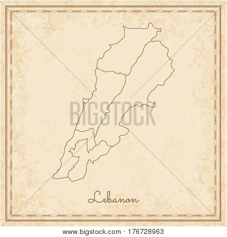 Lebanon Region Map: Stilyzed Old Pirate Parchment Imitation. Detailed Map Of Lebanon Regions. Vector