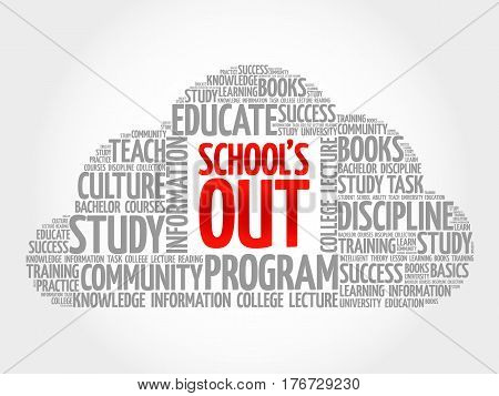 School's Out Word Cloud Collage