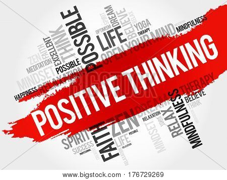 Positive Thinking Word Cloud Collage
