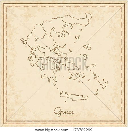 Greece Region Map: Stilyzed Old Pirate Parchment Imitation. Detailed Map Of Greece Regions. Vector I