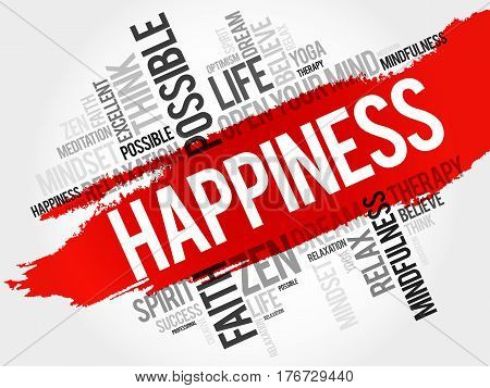 Happiness word cloud collage , concept background
