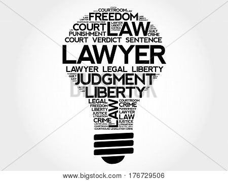 Lawyer Bulb Word Cloud Collage