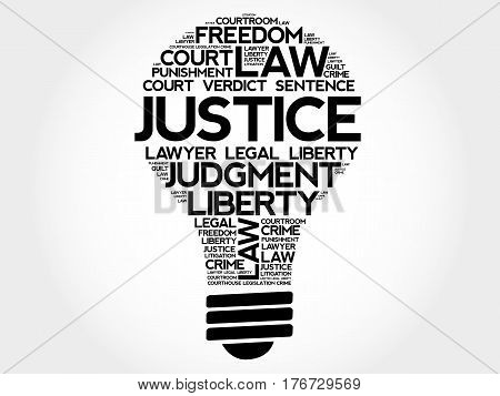 Justice bulb word cloud collage, social concept background