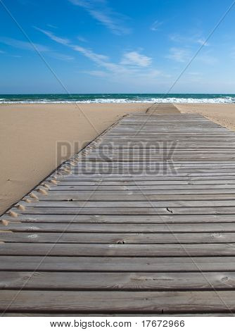 wooden way to the beach, extreme closeup