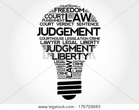 Judgement bulb word cloud collage, social concept background