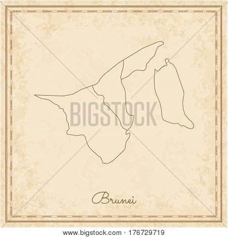 Brunei Region Map: Stilyzed Old Pirate Parchment Imitation. Detailed Map Of Brunei Regions. Vector I
