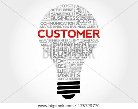 Customer bulb word cloud business concept background