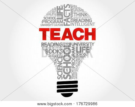 TEACH bulb word cloud collage, business concept background