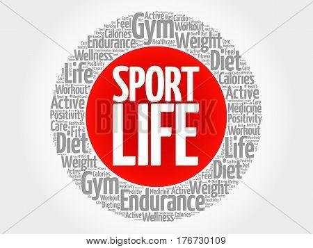 Sport Life Circle Stamp Word Cloud