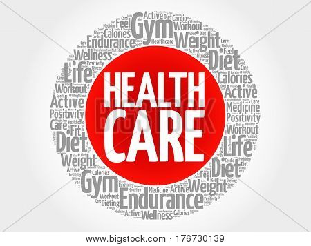 Health Care Circle Stamp Word Cloud