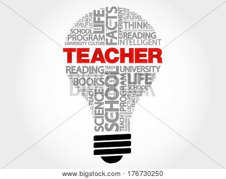 TEACHER bulb word cloud , business concept