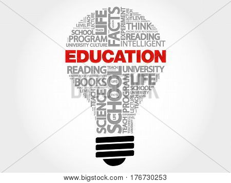 EDUCATION bulb word cloud , business concept