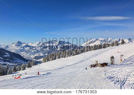 Empty ski domain located at high altitude in Alps in Beaufortain Massif in Haute-Savoie close to Mont Blanc.