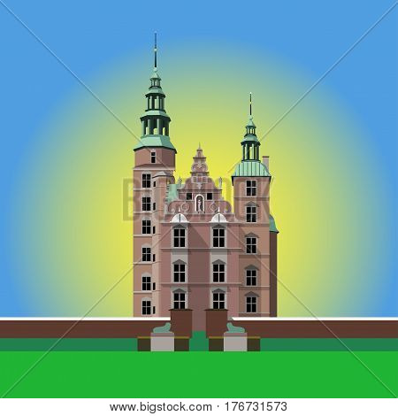 Rosenborg Castle, Copenhagen, Denmark. Vector illustration EPS10