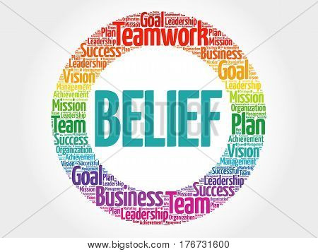 BELIEF word cloud collage, health concept background