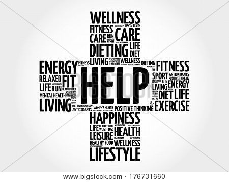 HELP word cloud collage, health concept background