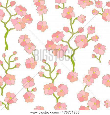 Seamless floral pattern for kimono. Japanese, Chinese, Korean motifs. Oriental textile collection.