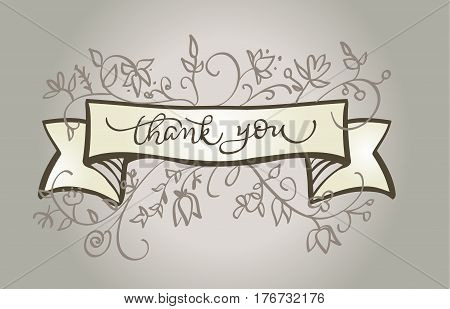 Calligraphy Thank you text beautiful vintage frame. lettering Vector illustration EPS10.
