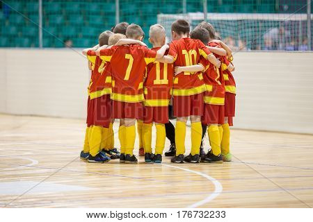 Kids Play Sports. Children Sports Team United Ready to Play Game