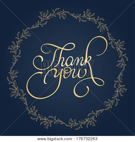 Thank you text with round frame on background. Calligraphy lettering Vector illustration EPS10.