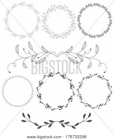 set of round flourish vintage decorative whorls frame leaves isolated on white background. Vector calligraphy illustration EPS10.