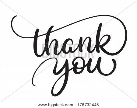 Thank you text on white background. Calligraphy lettering Vector illustration EPS10.