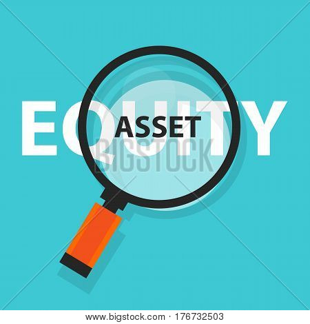 asset or equity cash flow concept business analysis magnifying glass symbol vector