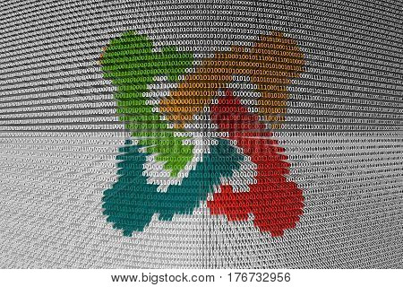Joomla is presented in the form of binary code 3d illustration
