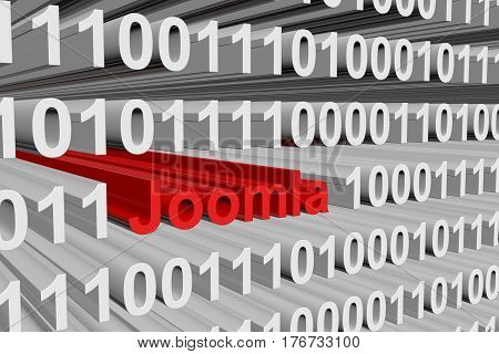 Joomla in the form of binary code, 3D illustration