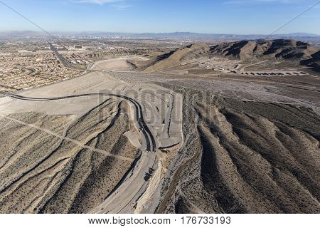 Aerial view of desert suburban construction sprawl in the Summerlin community of Las Vegas, Nevada.