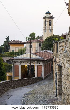 Funicular station at Old Town Citta Alta of Bergamo on San Vigilio Hill. Italy