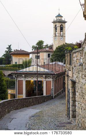 Funicular station at Old Town Citta Alta of Bergamo on San Vigilio Hill. Italy
