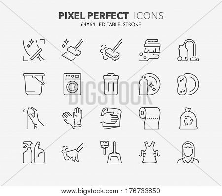 Set of cleaning thin line icons. Contains icons as windows and floor cleaning housekeeping air freshener maid service and more. Editable vector stroke. 64x64 Pixel Perfect.