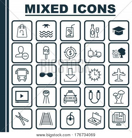 Set Of 25 Universal Editable Icons. Can Be Used For Web, Mobile And App Design. Includes Elements Such As Video Player, Suitcase Checking, Agrimotor And More.