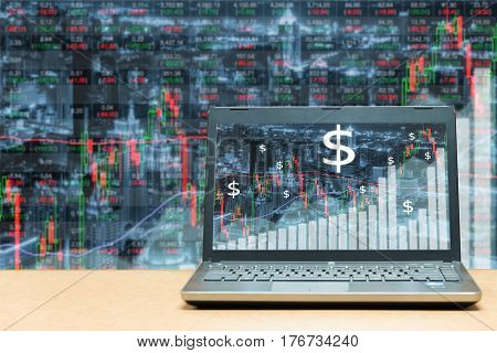 Laptop with stock exchange market business trading graph. Business marketing trade concept.